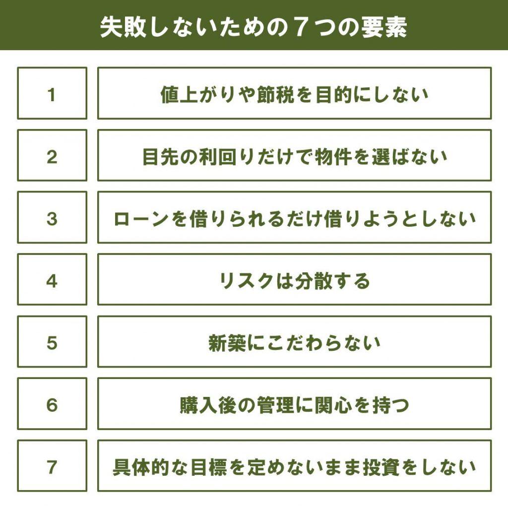 不動産投資で失敗しないための7つの要素