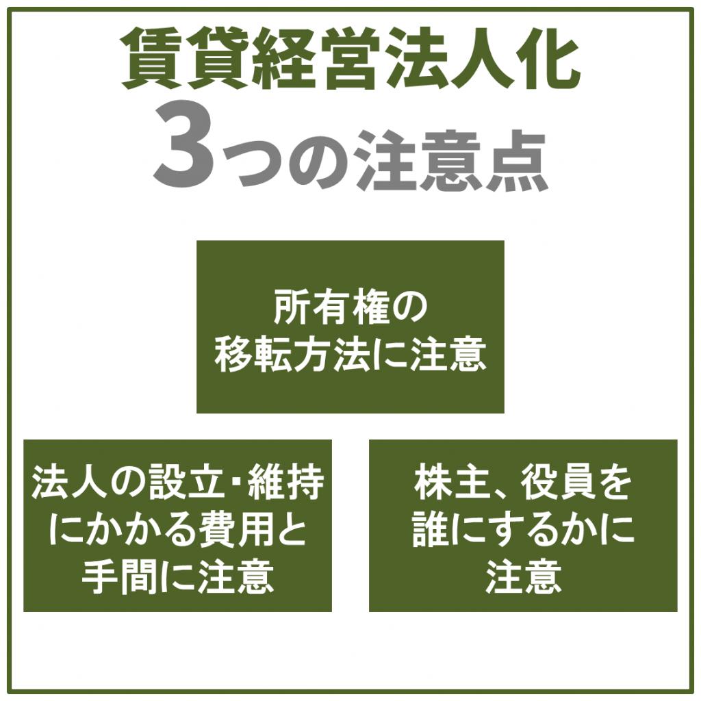 賃貸経営法人化3つの注意点